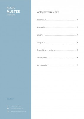 Bewerbung Anlagenübersicht Muster Vorlage 1