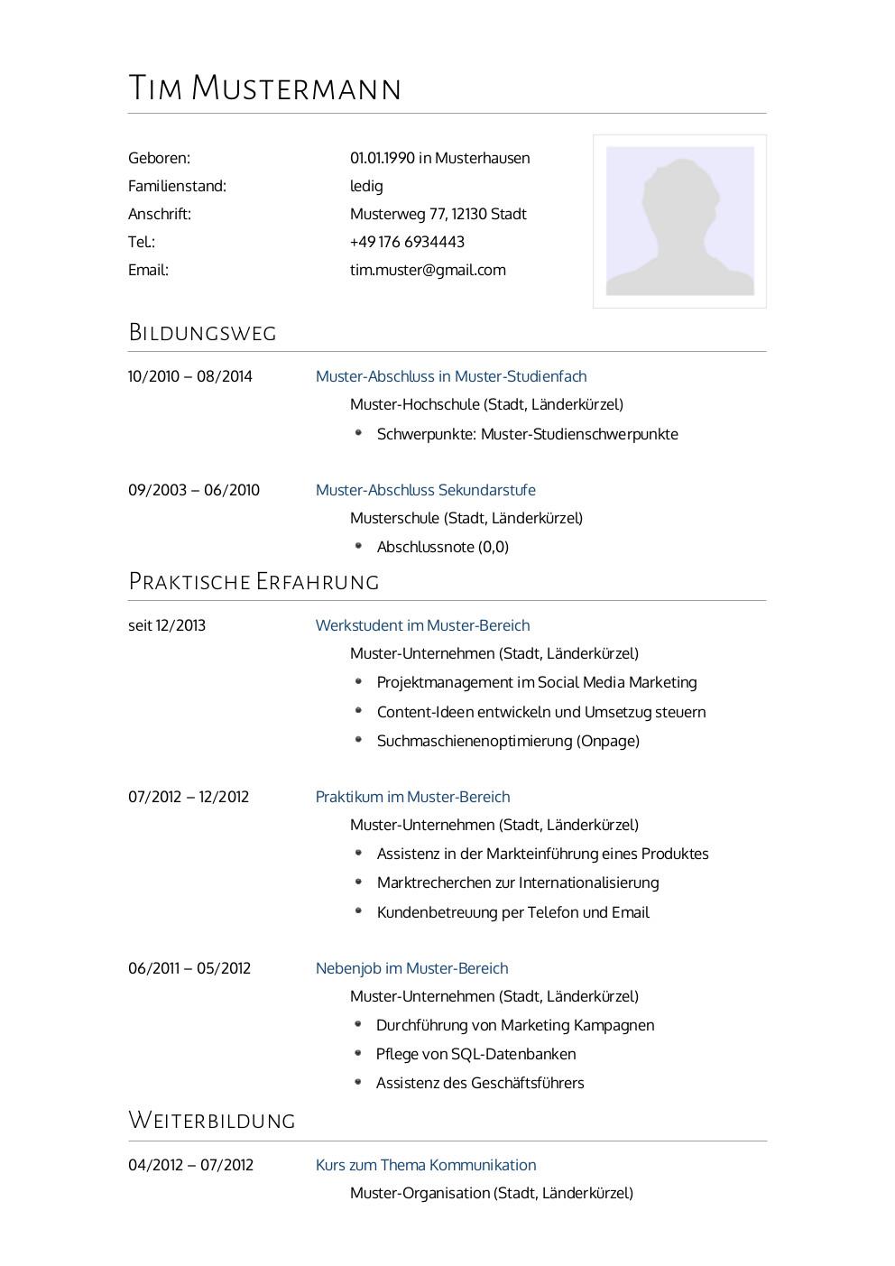 Bewerbungsmuster Arzt | Lebenslauf Designs