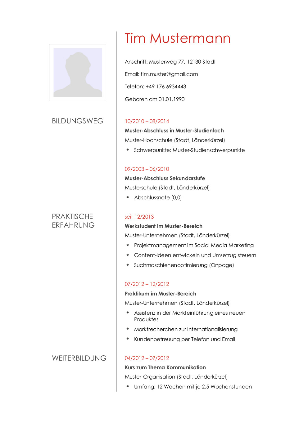 Bewerbungsmuster Redakteur | Lebenslauf Designs
