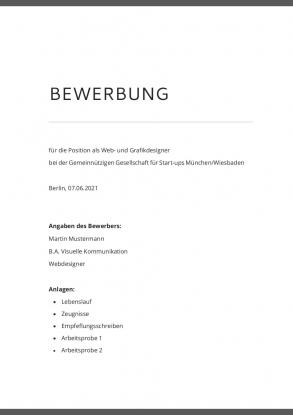 Bewerbungsvorlage Deckblatt modern