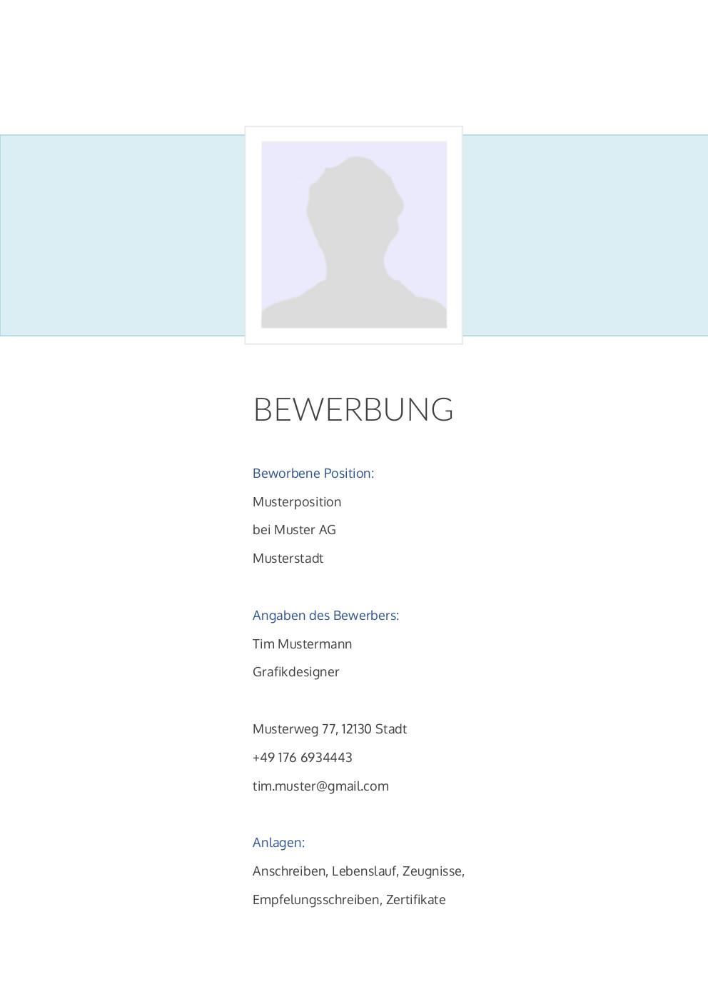 Bewerbung: Deckblatt Muster Vorlage 26 | Lebenslauf Designs