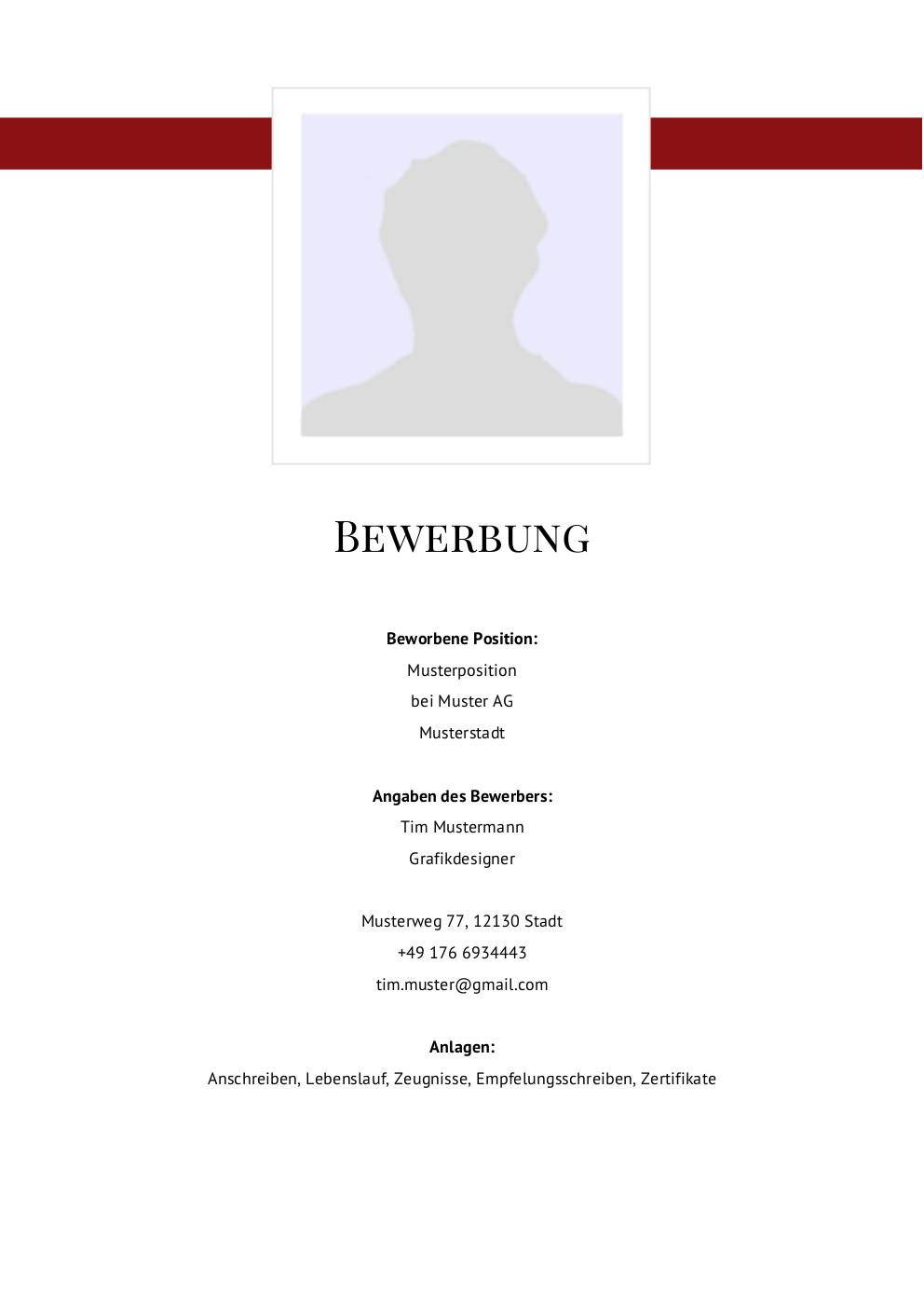 Bewerbung: Deckblatt Muster Vorlage 11 | Lebenslauf Designs