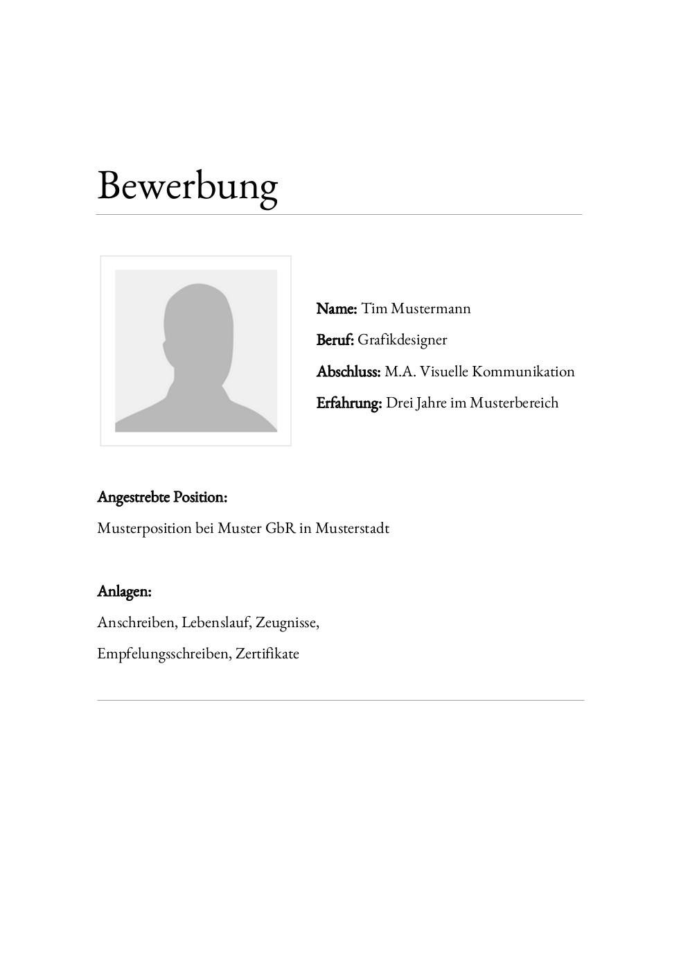 Bewerbung: Deckblatt Muster Vorlage 24 | Lebenslauf Designs