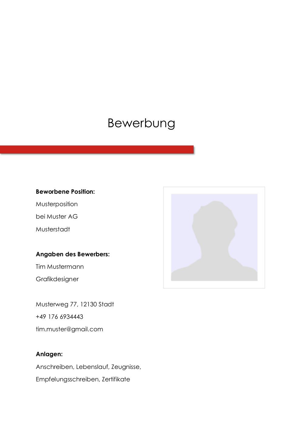 Bewerbung: Deckblatt Muster Vorlage 1 | Lebenslauf Designs