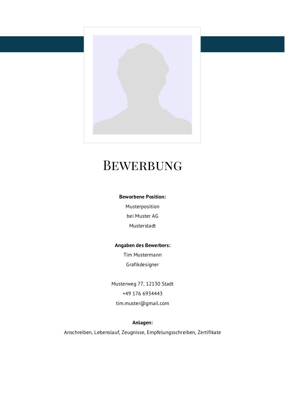 Bewerbung: Deckblatt Muster Vorlage 5 | Lebenslauf Designs