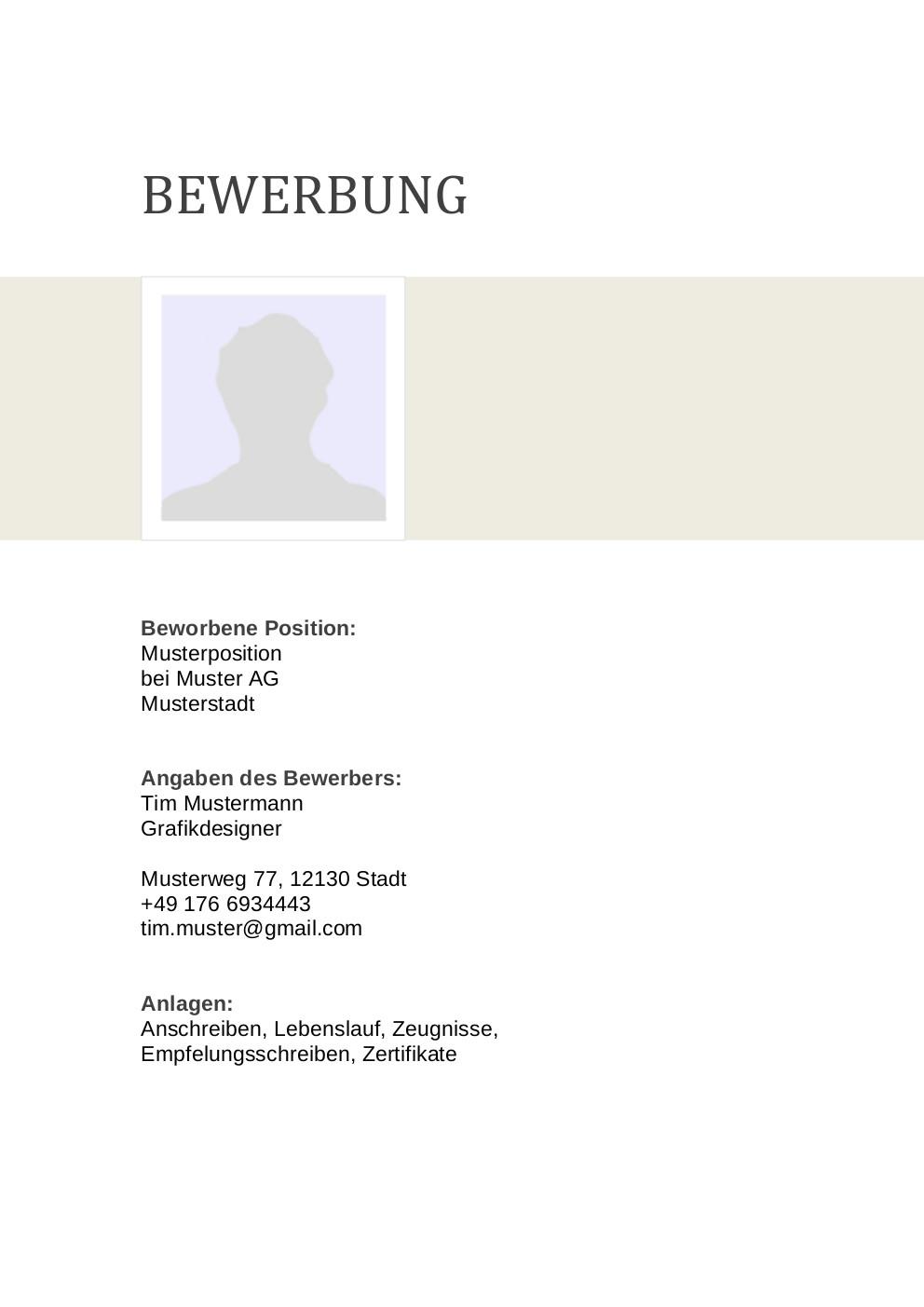 Bewerbung: Deckblatt Muster Vorlage 6 | Lebenslauf Designs