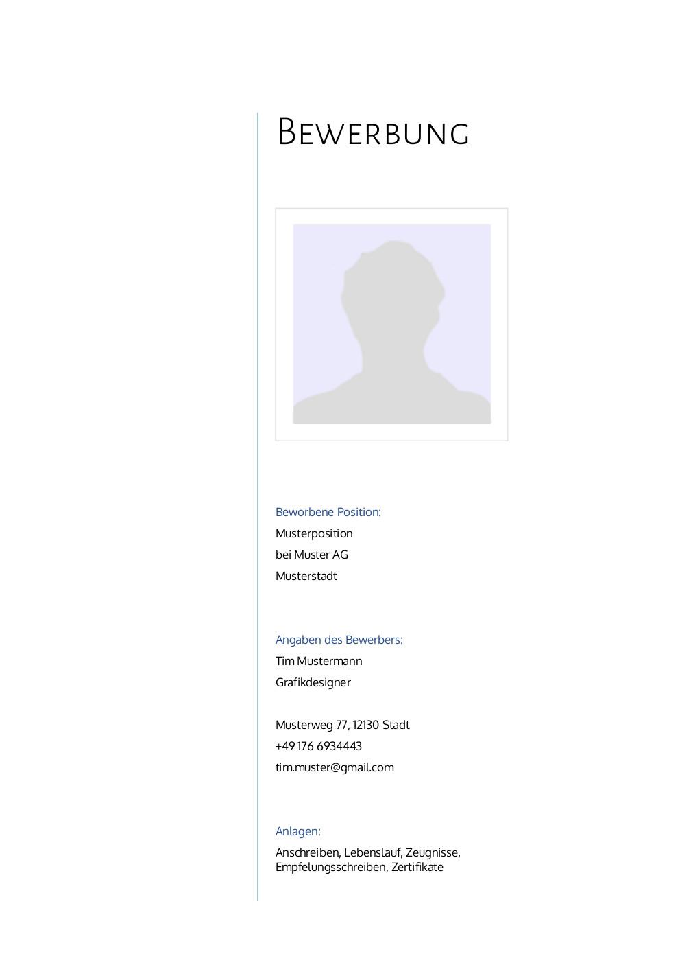 Bewerbung: Deckblatt Muster Vorlage 8 | Lebenslauf Designs