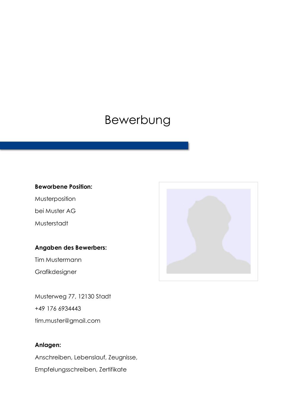Bewerbung: Deckblatt Muster Vorlage 9 | Lebenslauf Designs