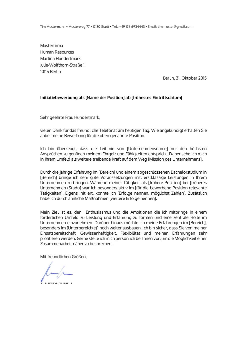 Initiativbewerbung: Muster für Psychologe | lebenslaufdesigns.de