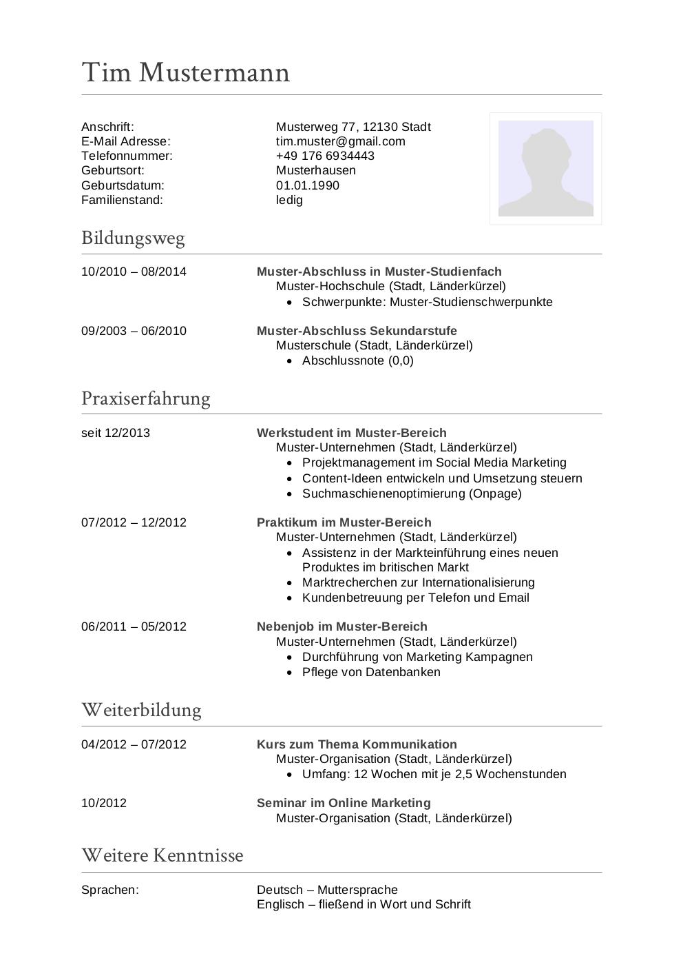 Initiativbewerbung Muster Für Sachbearbeiter Lebenslaufdesignsde