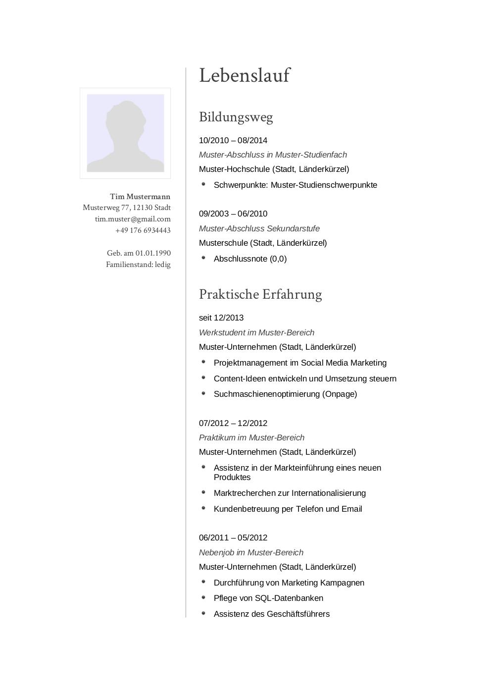 Initiativbewerbung Muster Für Sekretär In Lebenslaufdesignsde