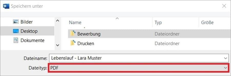 Lebenslauf als PDF speichern