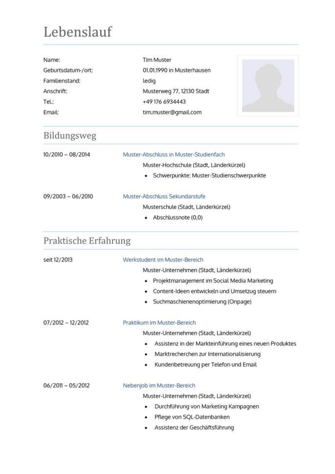 Lebenslauf Muster Vorlage 10 Lehrer 1