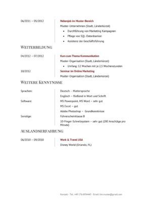 Lebenslauf Muster Vorlage Manager 2