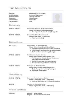 77 Lebenslauf Vorlagen Muster 2021 Lebenslaufdesigns De