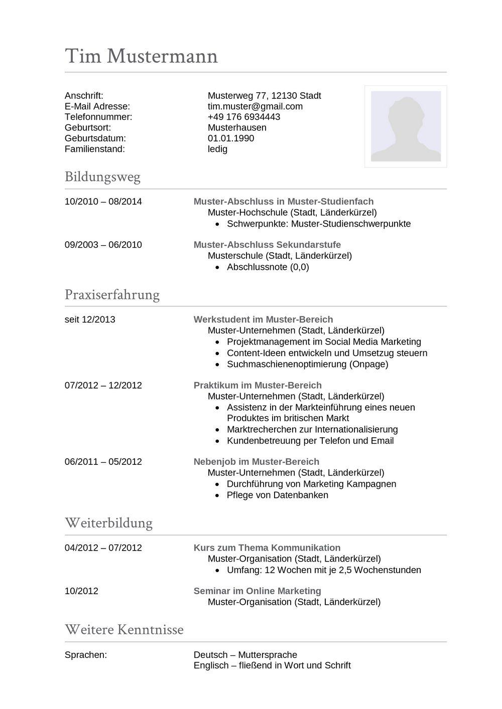 Lebenslauf Muster für Sachbearbeiter | Lebenslauf Designs