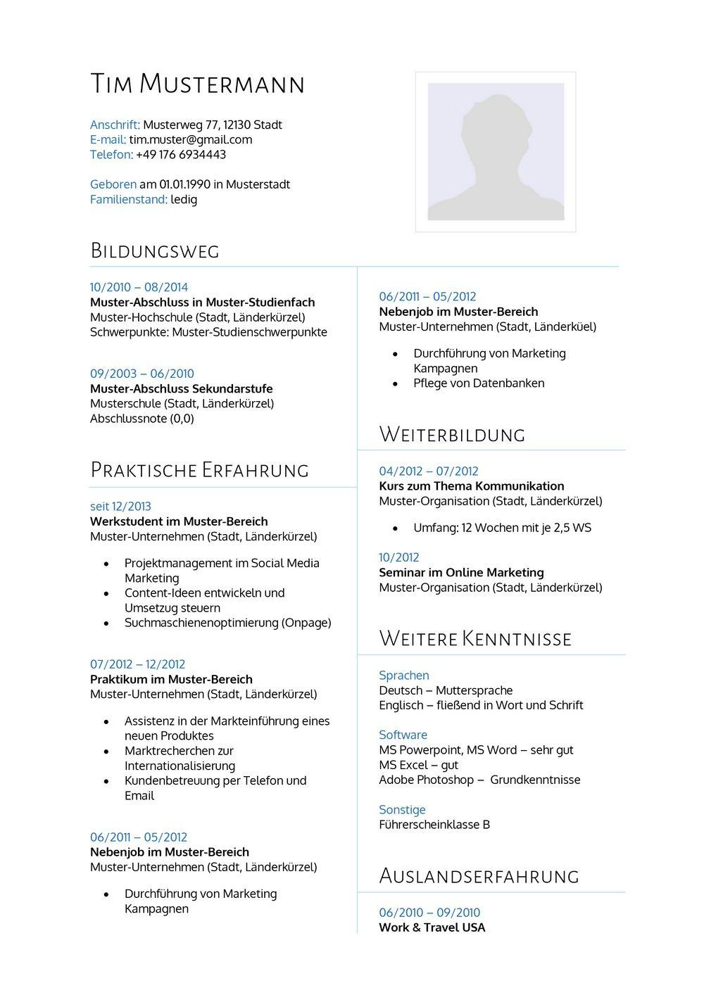 Lebenslauf Muster 14 | lebenslaufdesigns.de
