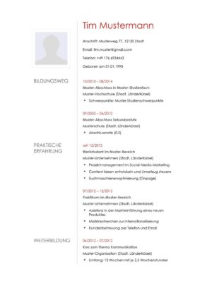 Lebenslauf Muster Vorlage 15 Architekt 1