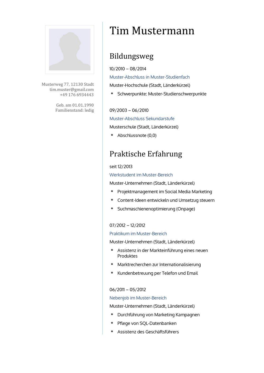 Lebenslauf Muster für Pfleger | Lebenslauf Designs