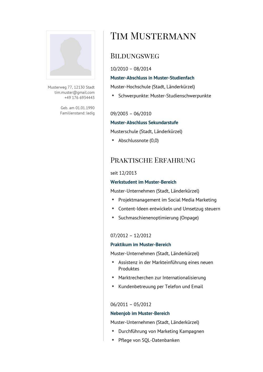 Lebenslauf Muster für Manager | Lebenslauf Designs