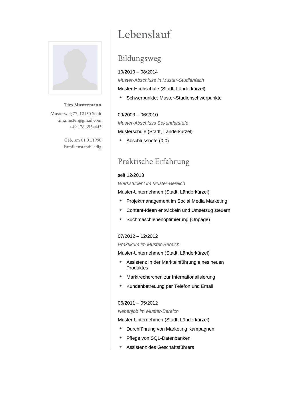 Lebenslauf Muster für Sekretär/-in | Lebenslauf Designs
