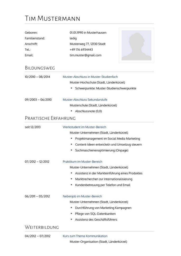 Lebenslauf Muster Vorlage 2 Psychologe 1