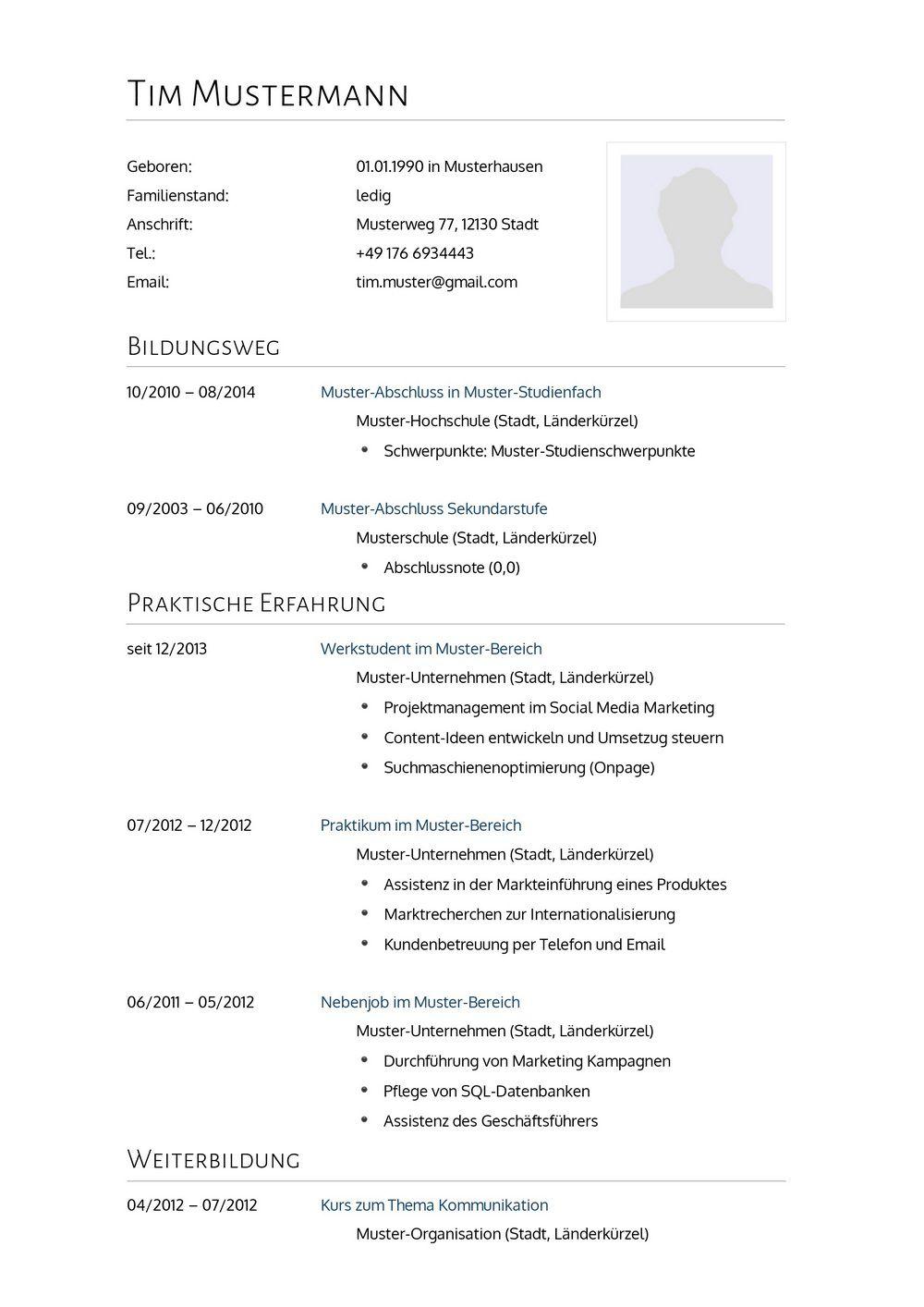 Großartig Umfassendes Lebenslaufbeispiel Fotos - Entry Level Resume ...