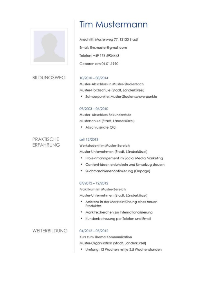 Lebenslauf Muster Vorlage 21 Architekt 1