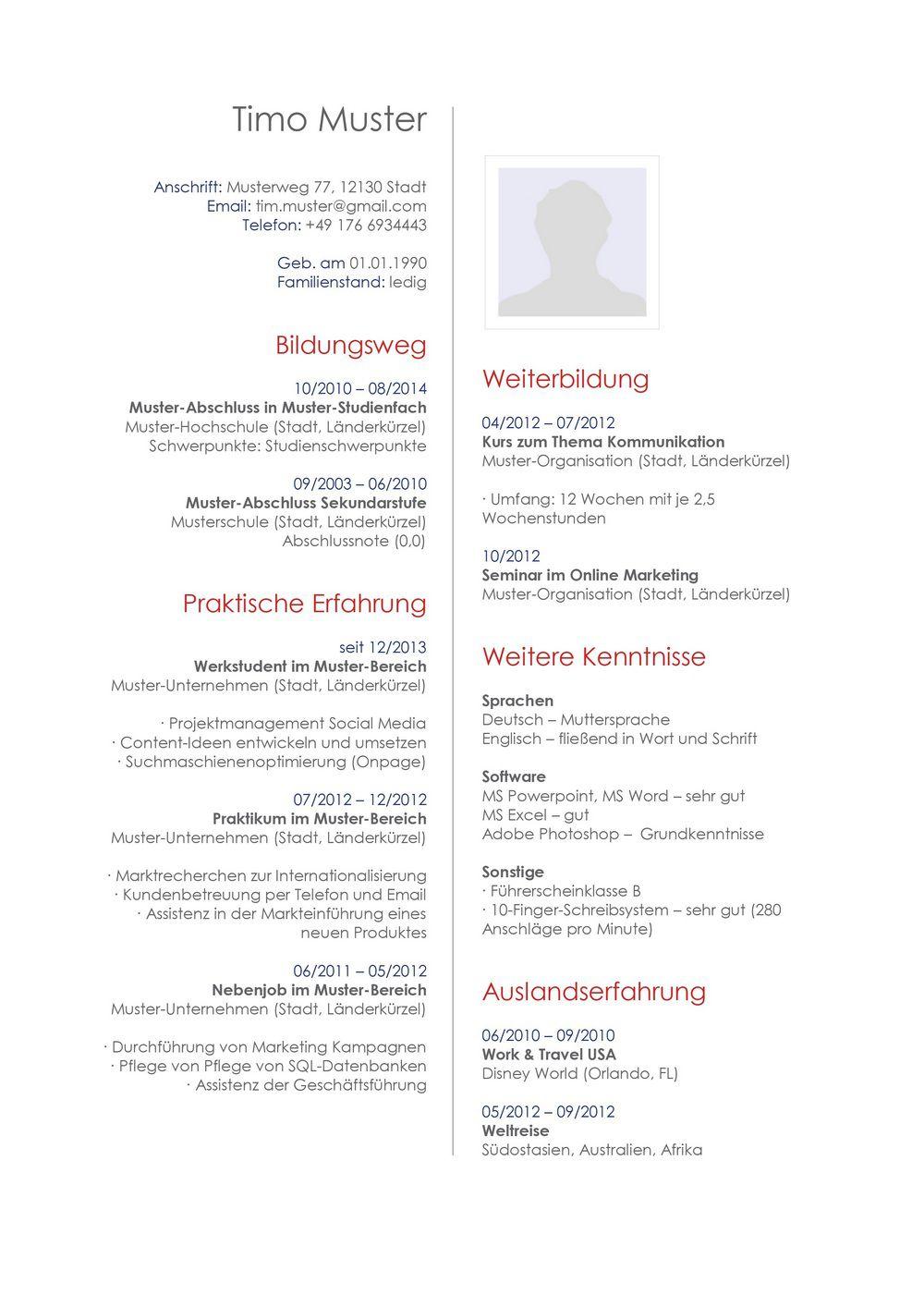 Lebenslauf Muster Für Publisher Lebenslauf Designs