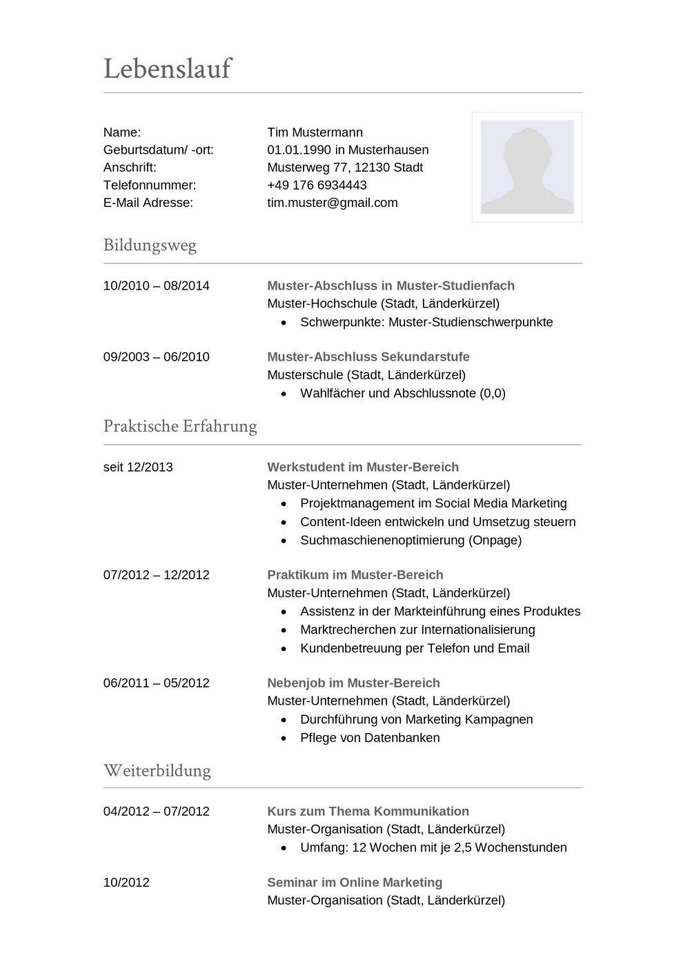 Lebenslauf Muster Für Buchhalter Lebenslauf Designs
