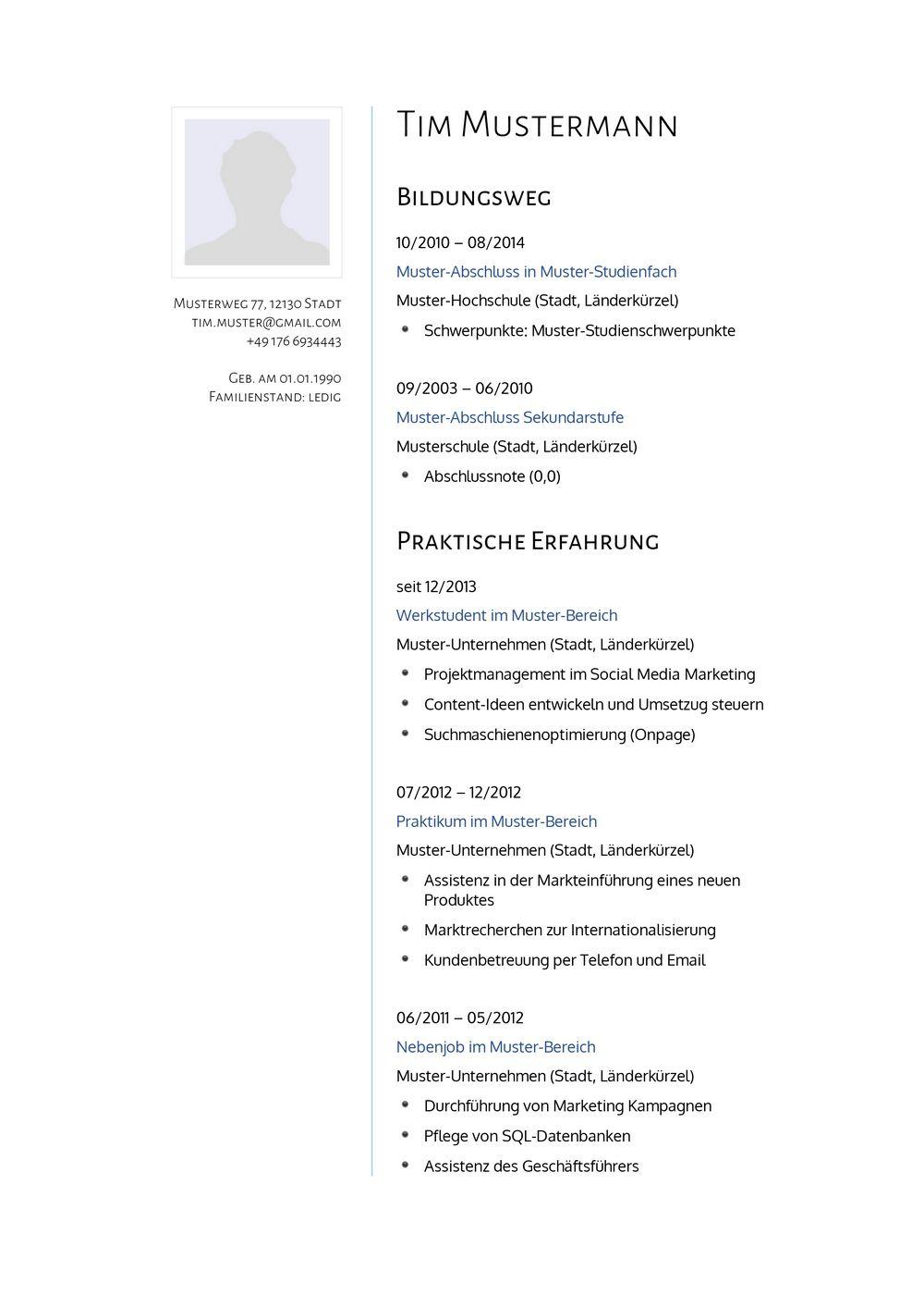 Lebenslauf Muster für Psychologe | Lebenslauf Designs