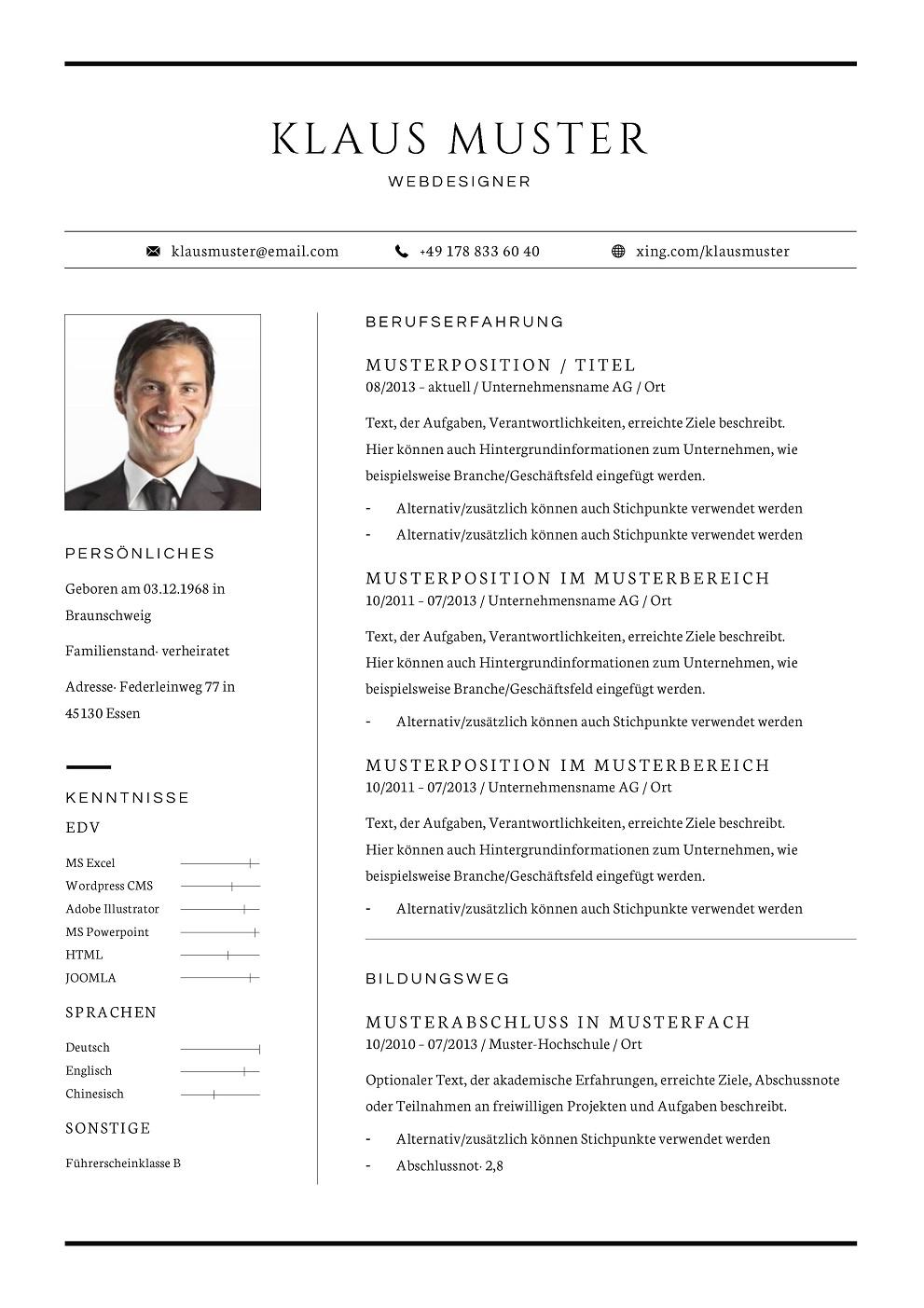Premium Bewerbungsmuster 12 | lebenslaufdesigns.de
