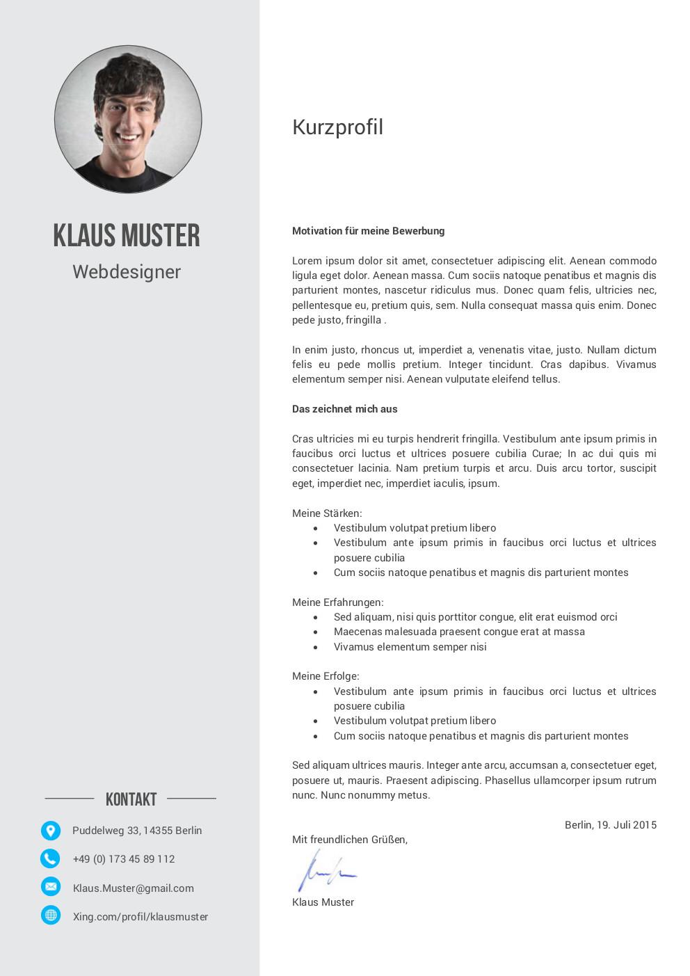 Premium Bewerbungsmuster 6 | lebenslaufdesigns.de