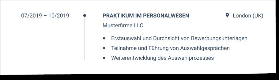 Praktikum im CV
