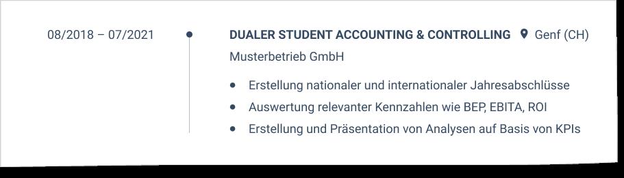 Praxisphasen Duales Studium im CV