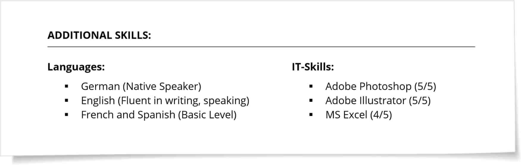 Skills english CV example