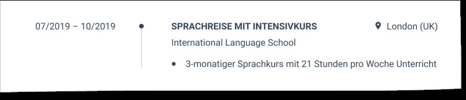 Sprachreise im CV
