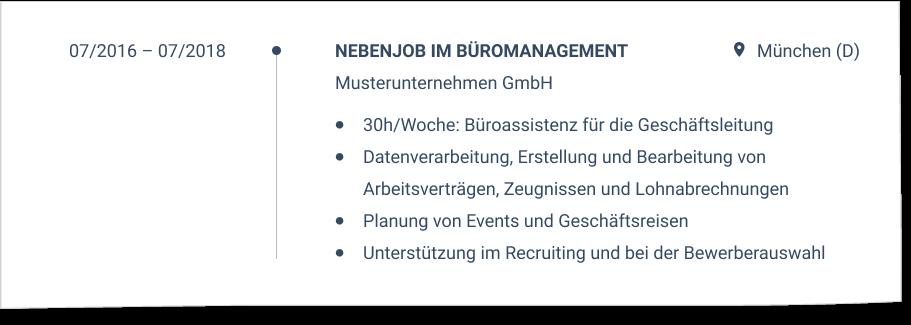 Teilzeitjob im CV